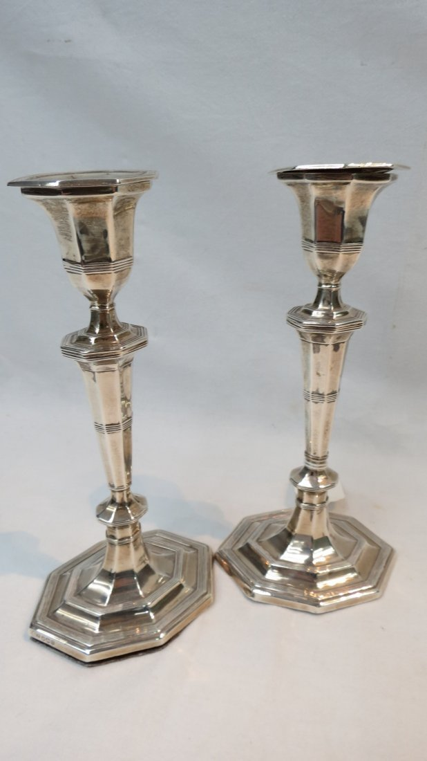 A pair of silver candlesticks, Sheffield
