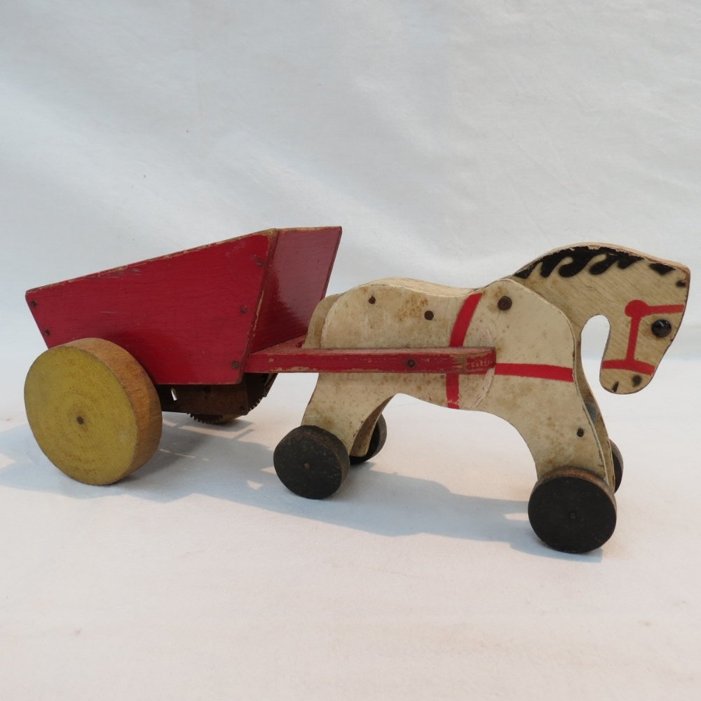 A Chad Valley clockwork horse and cart,