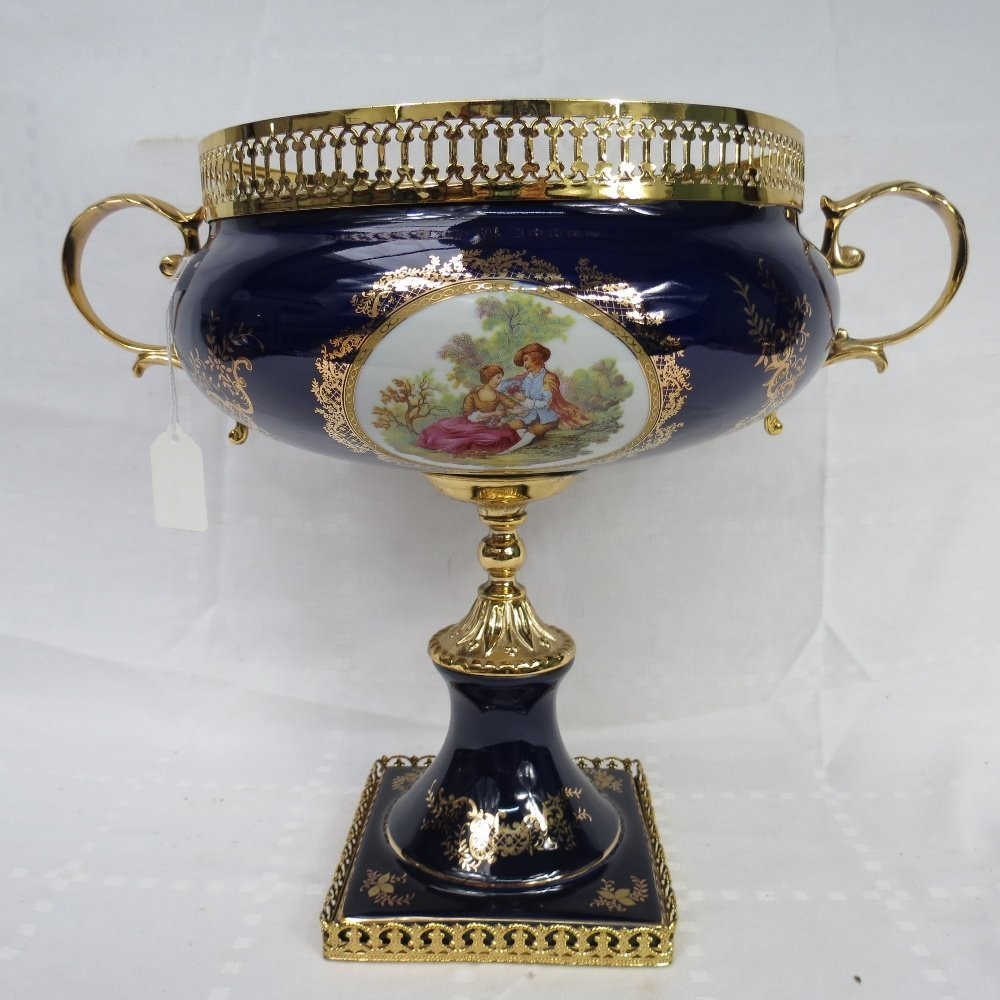 A contemporary gilt metal mounted table centre, with a