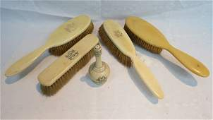 A 19thC ivory cologne sprinkler 10cm also four ivory