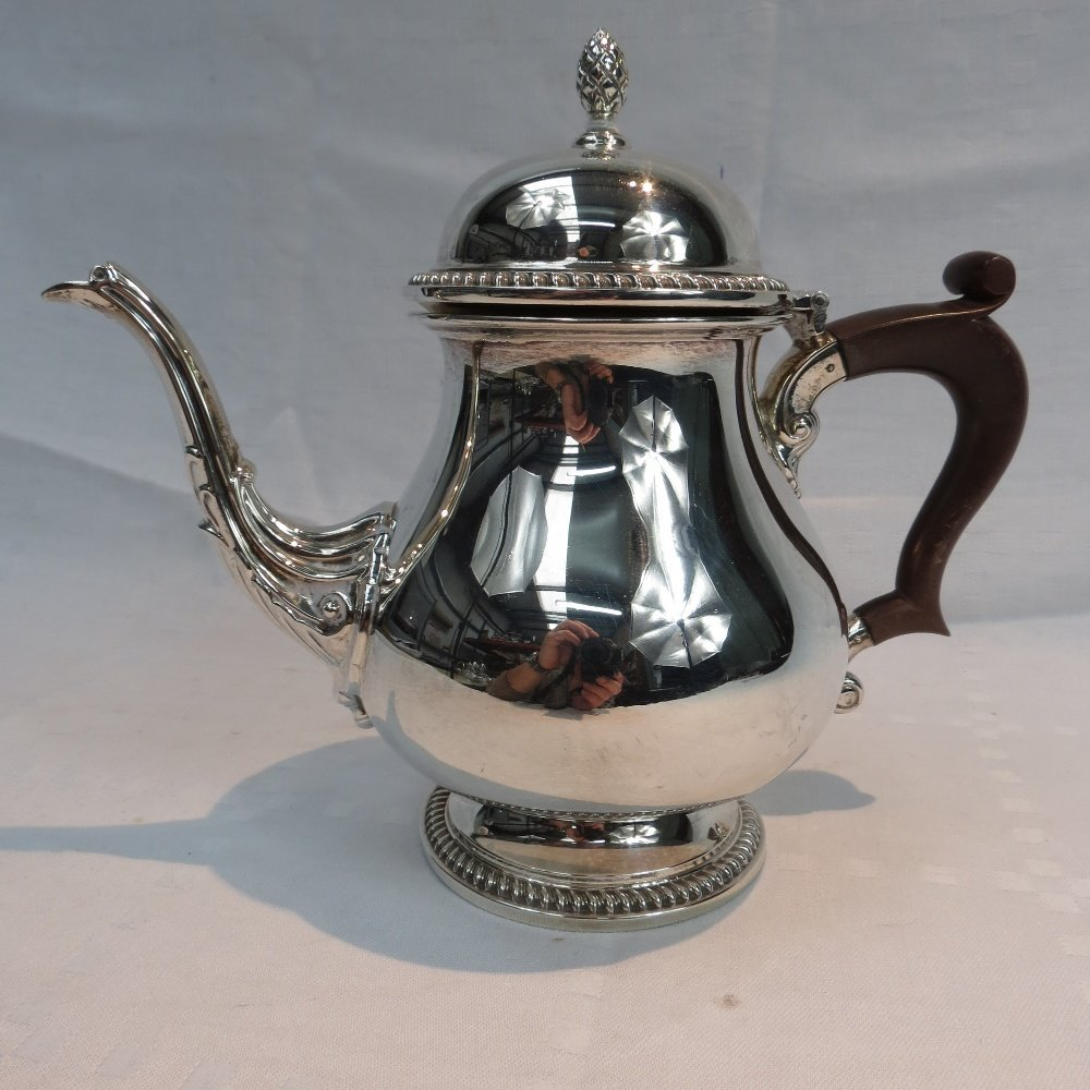 A silver teapot, Birmingham 1966, of squat baluster