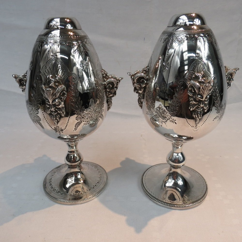 A near pair of silver plated table lamp bases (burners