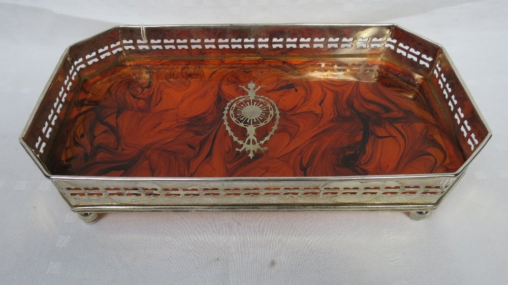 A silver plated rectangular gallery tray, the pierced