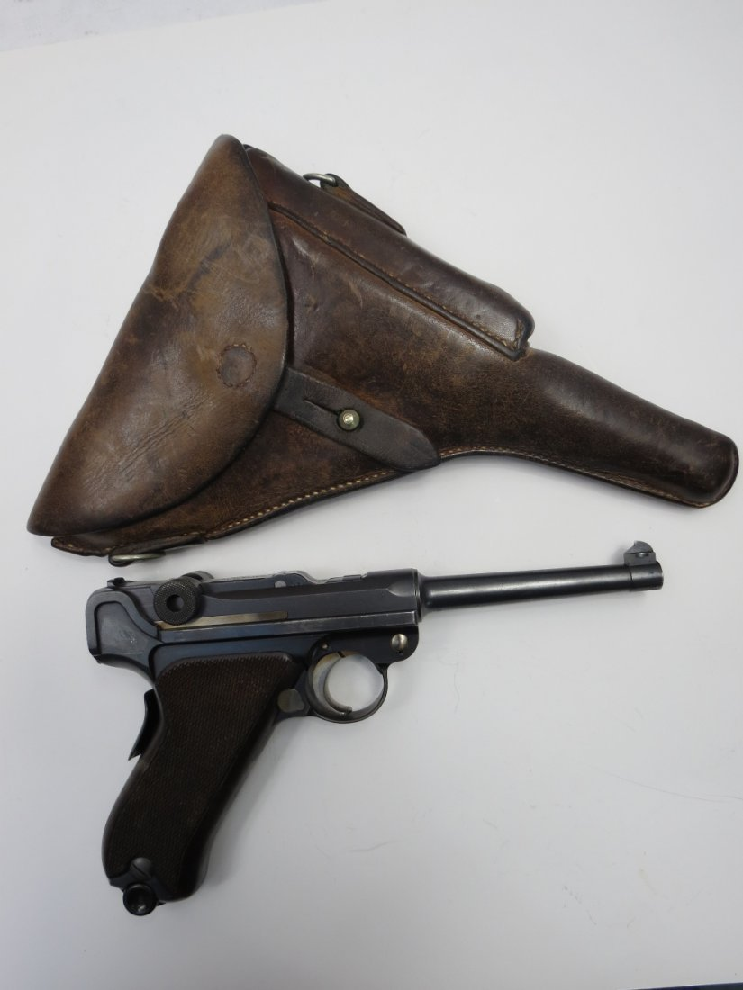 A deactivated Swiss Luger c1920's with leather holster