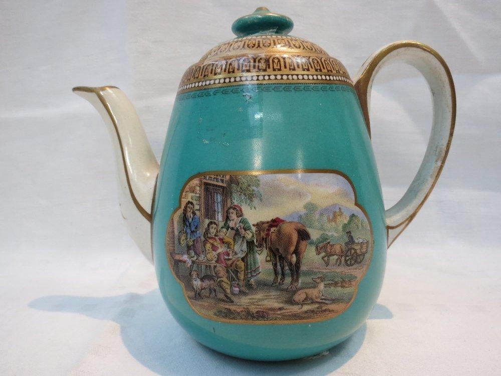 A 19thC. Pratt ware teapot for one,