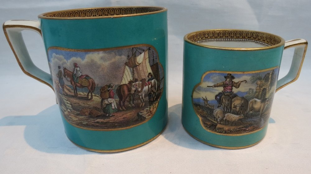 A large 19thC. Pratt ware mug decorated with vignettes