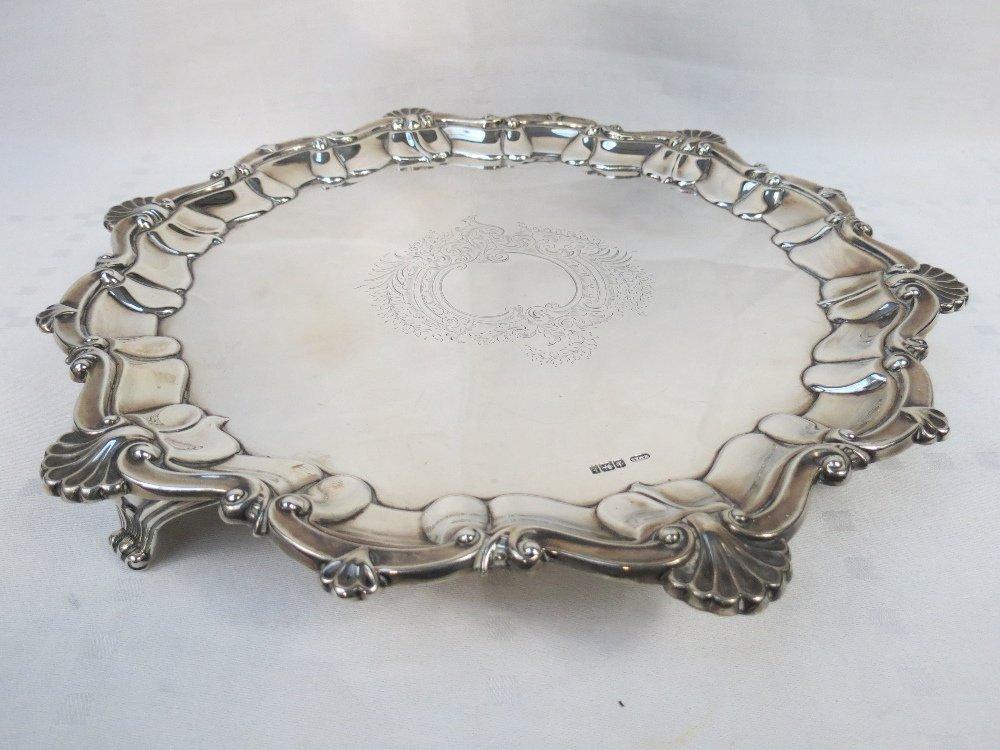 A HM silver salver, unengraved