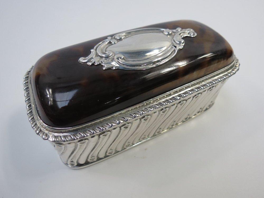 A smart HM silver and tortoiseshell trinket box