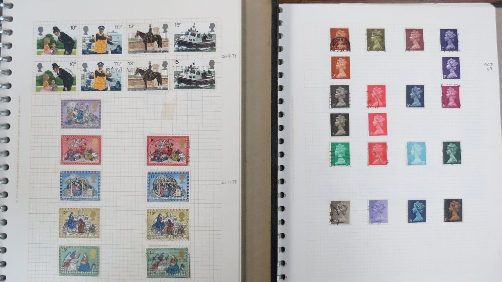 GB stamps five albums with mainly QEII mint, used and