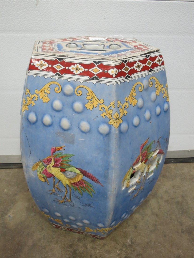 A Chinese style ceramic hexagonal garden seat standing