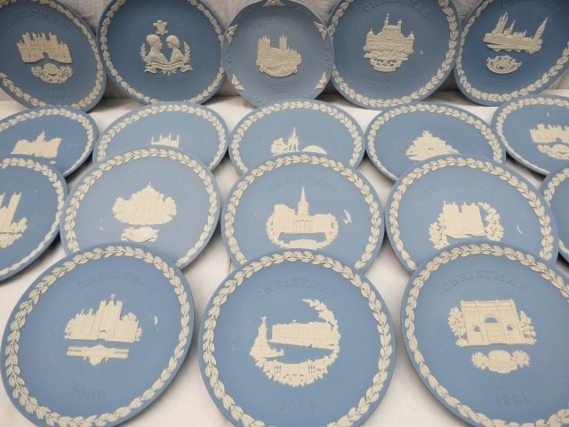 A collection of Wedgwood Jasper-ware Christmas plates,