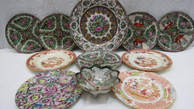 Five 20thC oriental famille rose side plates 18cm dia,