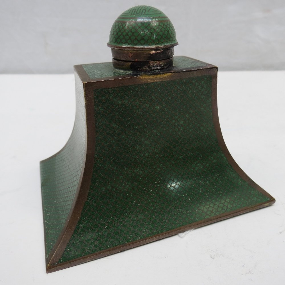 A Chinese green cloisonne fish scale enamel pagoda