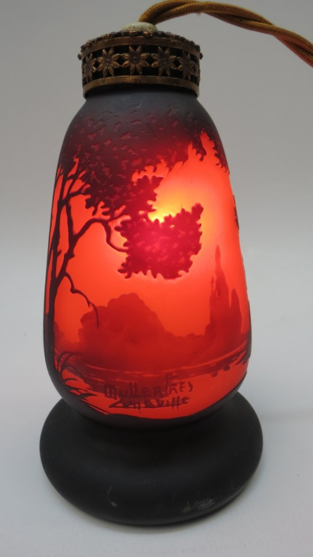 A glass table lamp by Moller Freres of Luneville in
