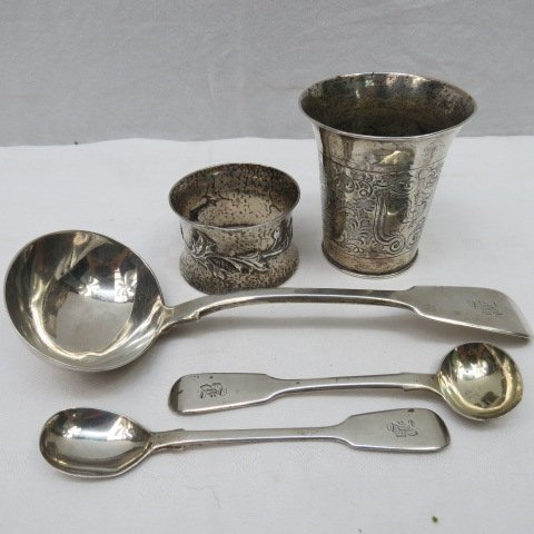 A Continental silver Christening beaker engraved with