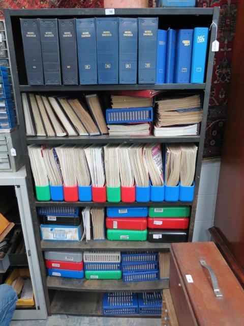A metal six shelf workshop rack