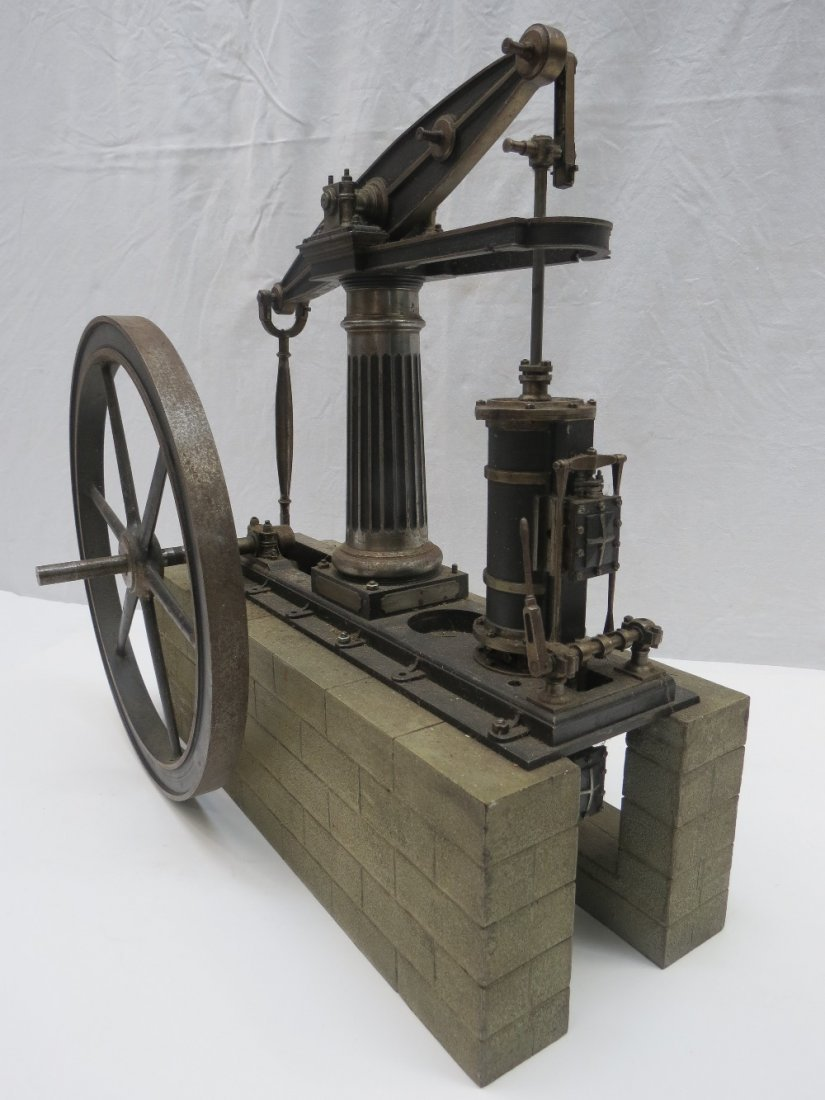 A scale model live steam beam engine measuring 38 width
