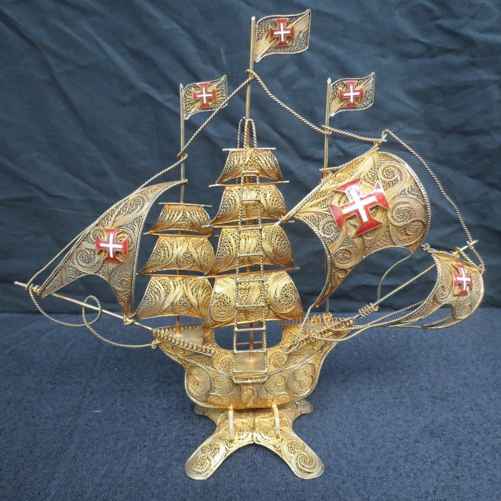 A Spanish galleon worked entirely in filigree gilt with