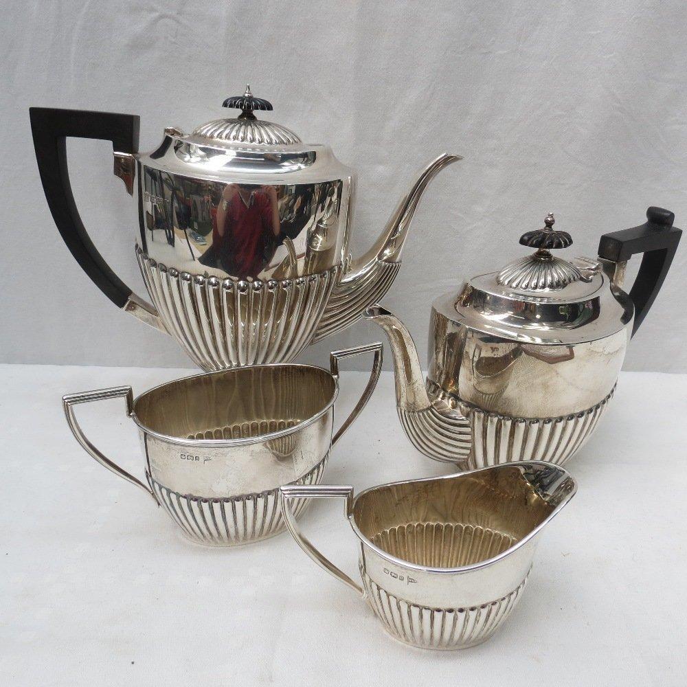 A three piece silver tea service, Sheffield 1899,