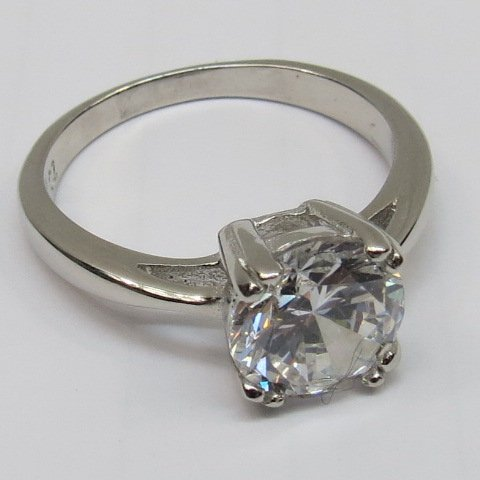 A single stone ring the large clear white stone set in