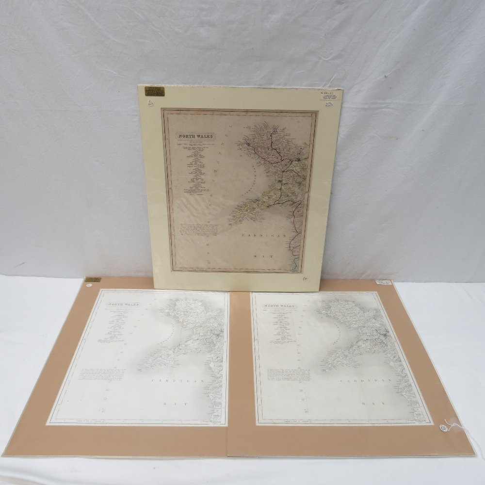 Two monochromatic maps of North Wales by Walker c1837