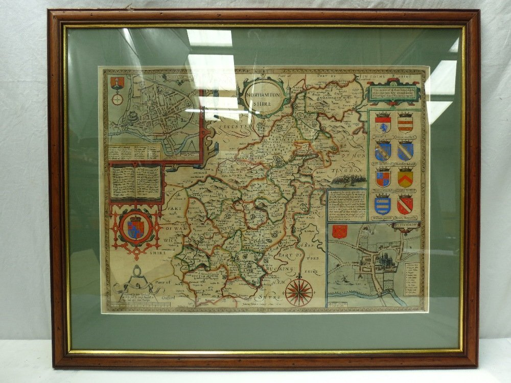 A handtinted coloured map of Northamptonshire by John