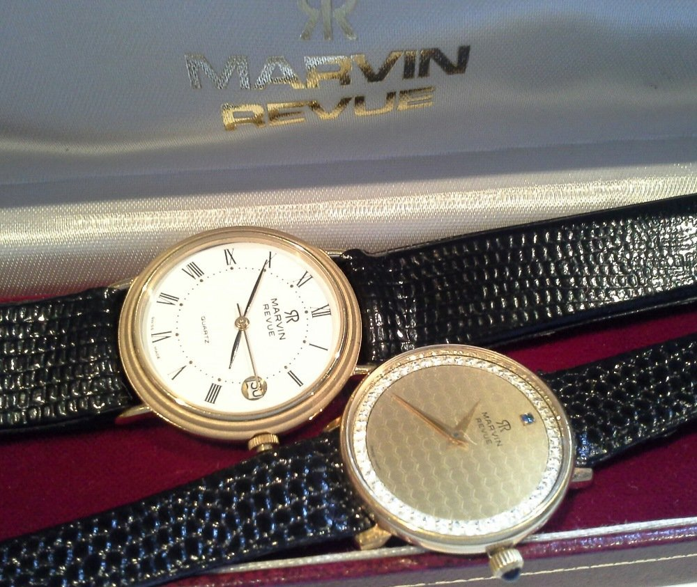 A Marvin Revue gents watch, gold plated case,