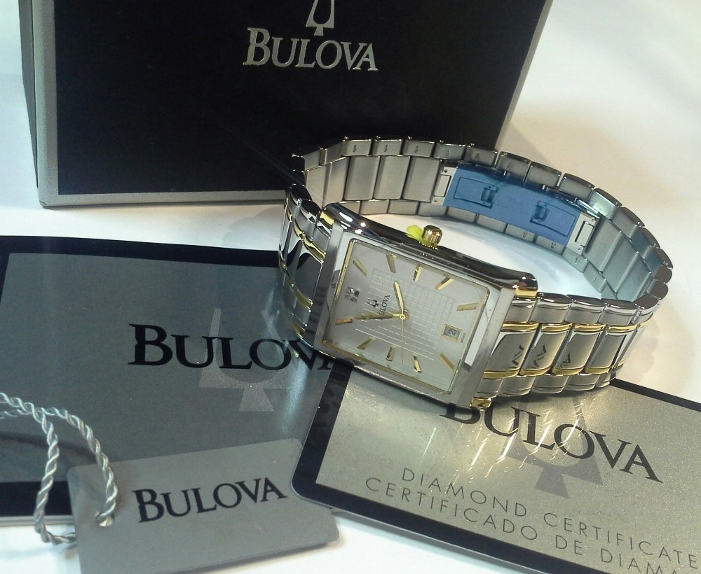 A new and unused Gents Bulova two colour metal wrist
