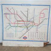 A London Transport map of the Underground measuring 128