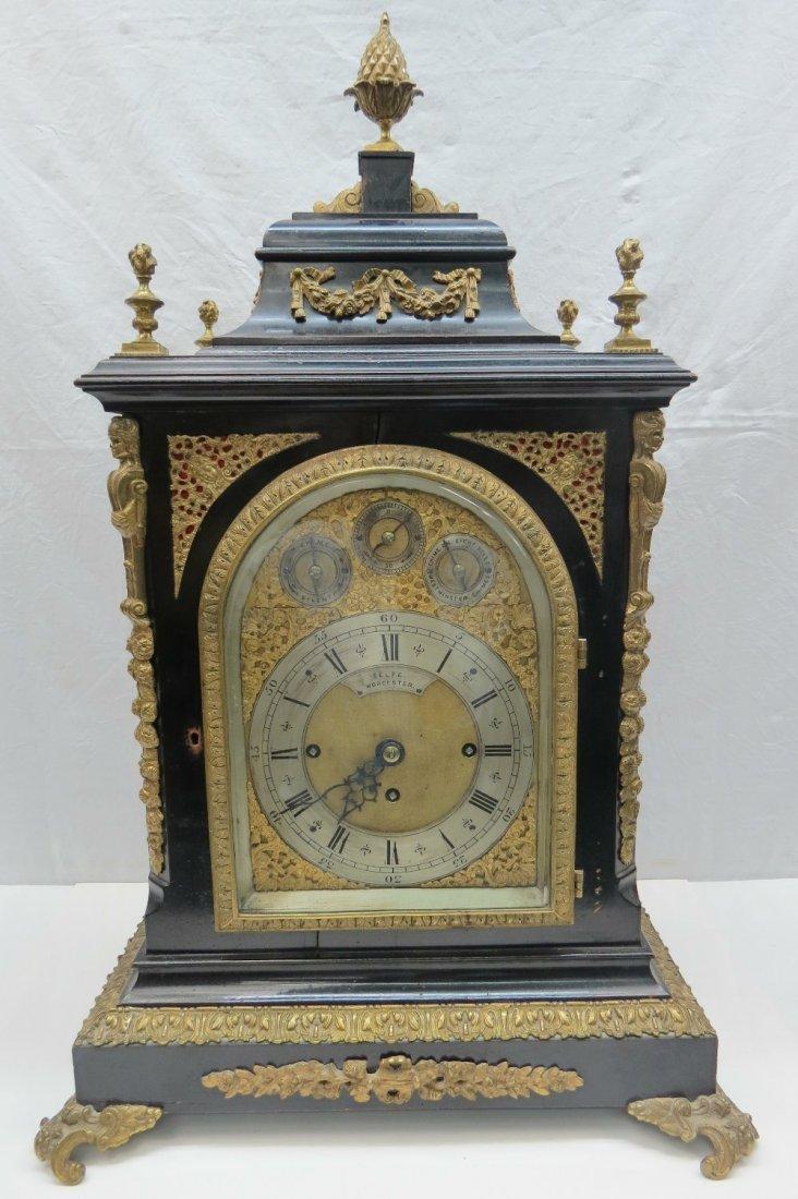 A large and very impressive ebonised bracket clock, the