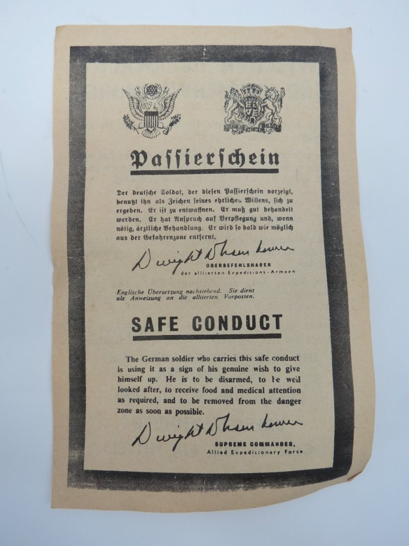 WW2 Safe Conduct Pass US military to German troops