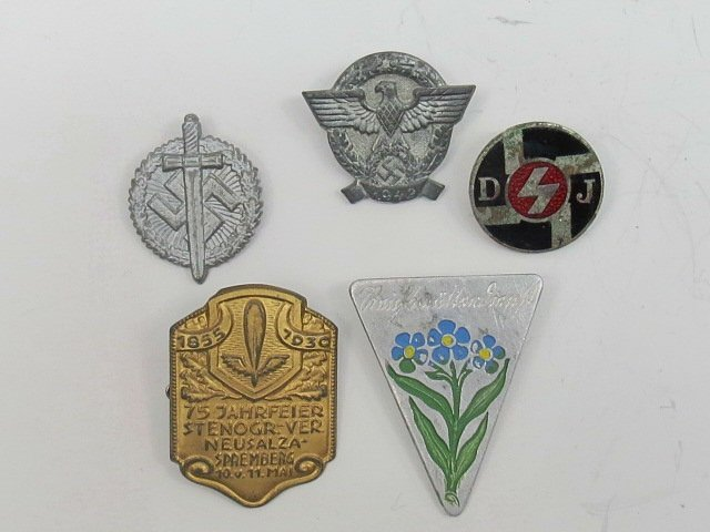 A selection of five German badges