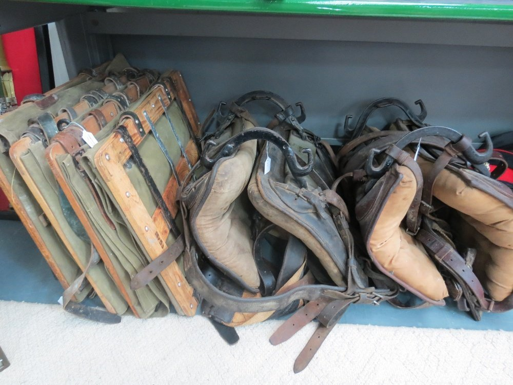 A WWII horse saddle complete with four side panniers.