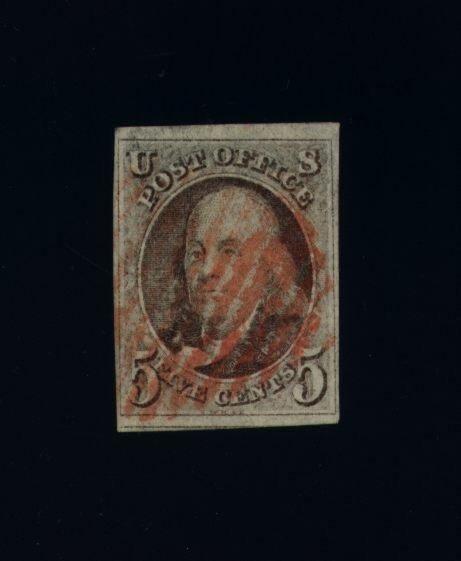 1: US Scott #1, used, red cancel F-VF