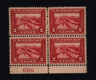 US Scott #398, unused block