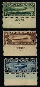 36: US Scott #C13-C15 Zeppelins