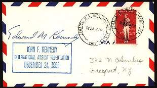 US Kennedy Airport cover, autographed, 19