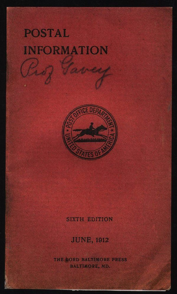 US, 1912 postal pamphlet