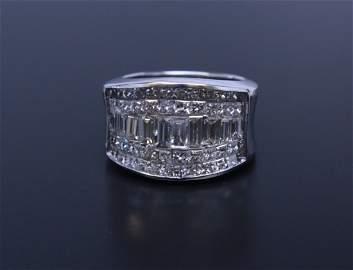 5 Row Diamond Ring White Gold 18k