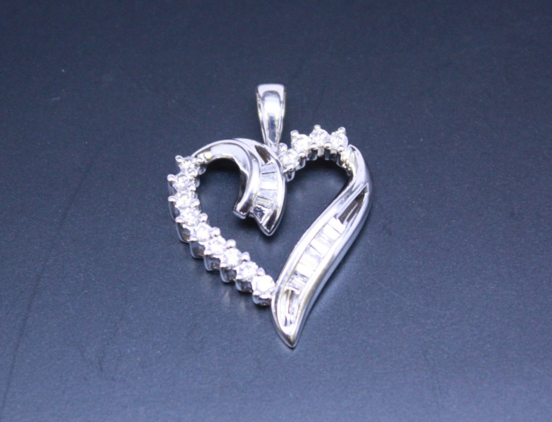 Baguette And Round Diamond Heart Pendant White Gold 10k