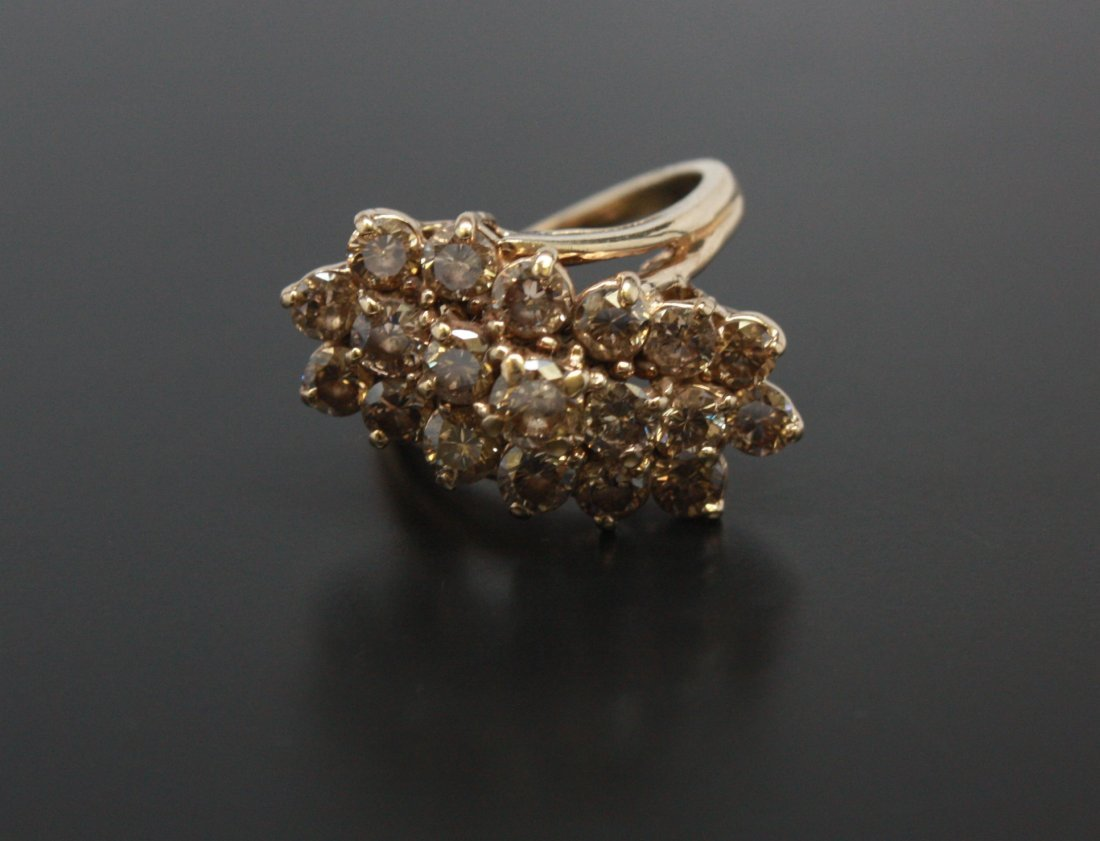 Wave Cluster Diamond Ring Yellow Gold 14k