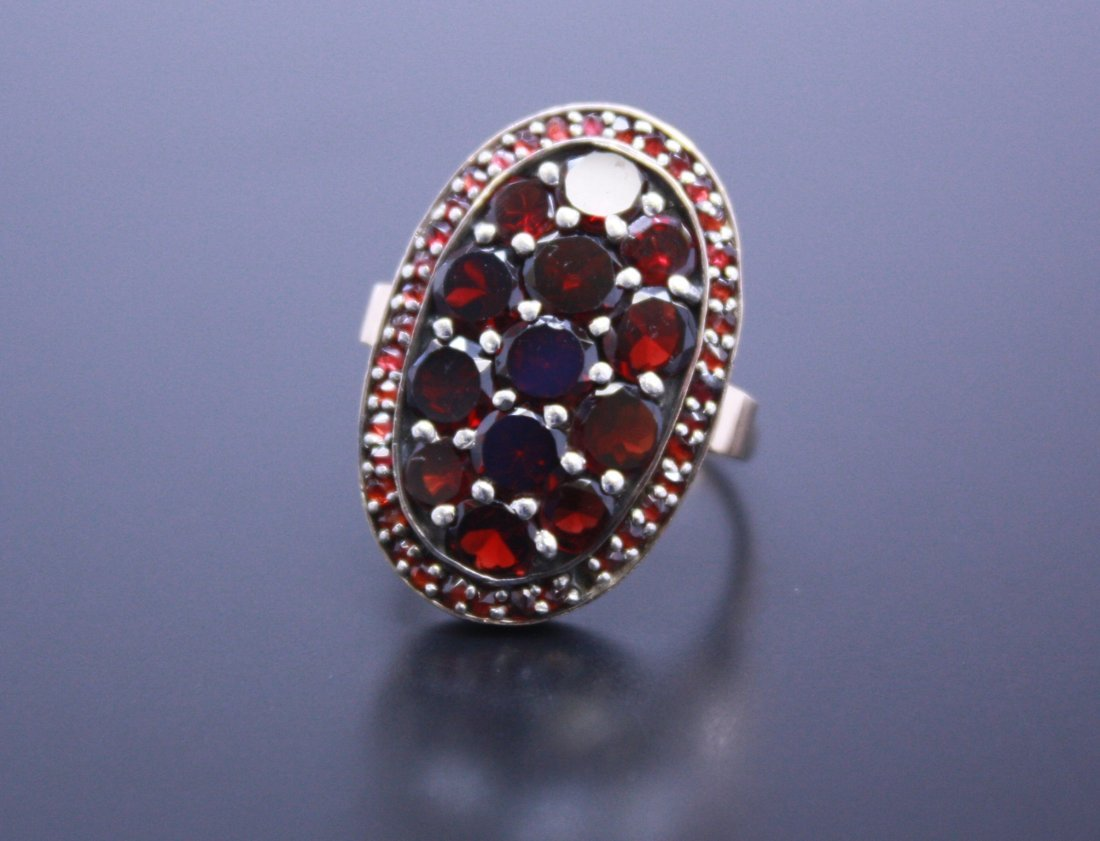Rubilite Garnet Shield Ring Yellow Gold 10k