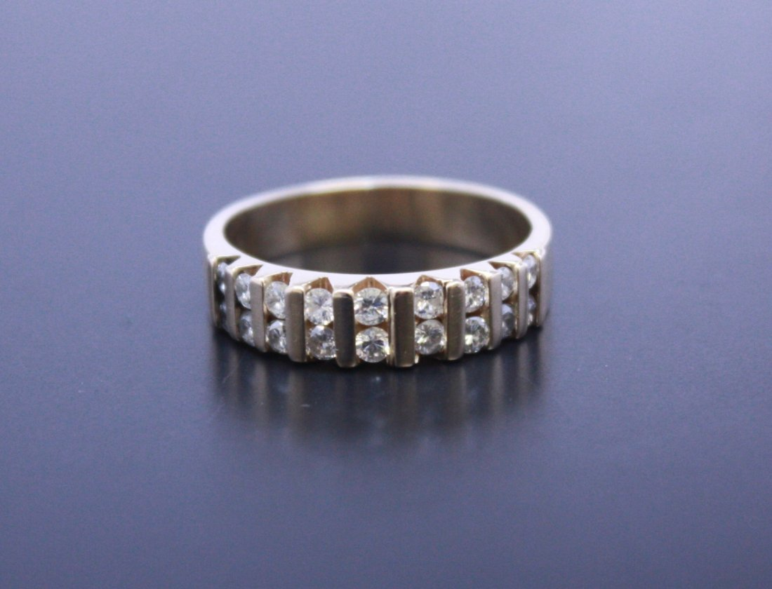 2 Row Diamond Band Yellow Gold 14k