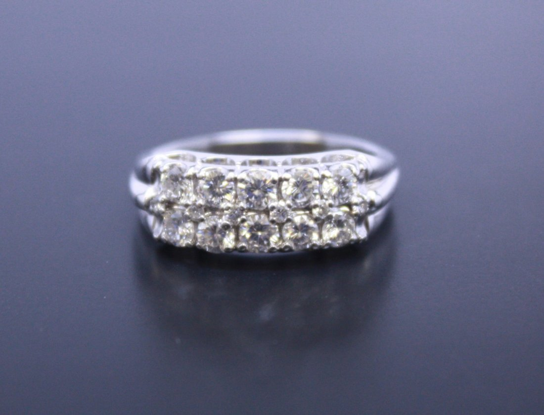 14k White Gold Ladies Double Row Diamond Wedding Ring