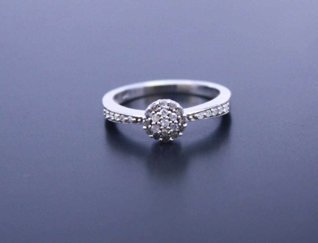 White Gold Ladies Cluster Diamond Ring 14k