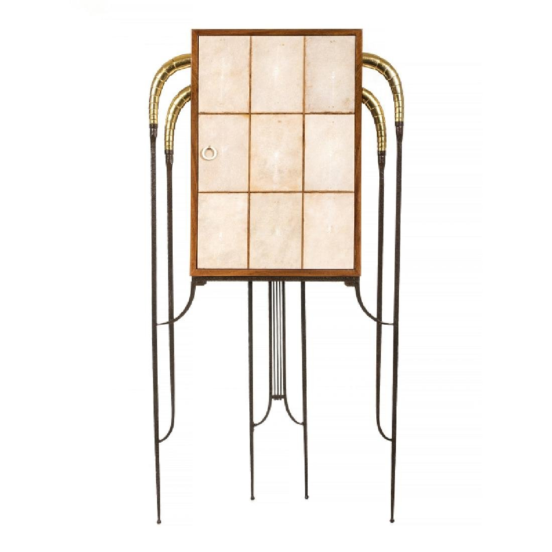 Style of MARC DU PLANTIER - Wrought Iron Galuchat Bar