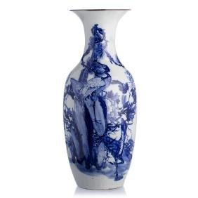 'Heron and deer' vase in Chinese porcelain, Minguo