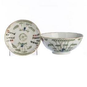 Bowl and  plate in Chinese porcelain, Tongzhi