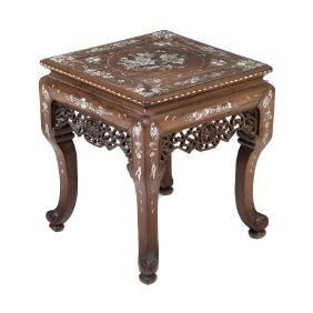 Chinese inlaid low table in exotic wood,