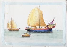 CHINESE SCHOOL, 19th CENTURY - Three maritime paintings